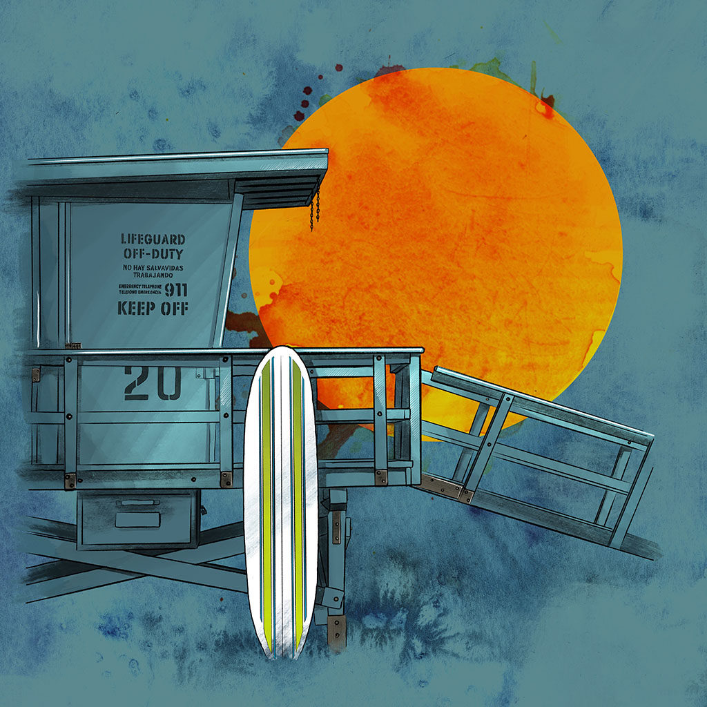 Joseph Kiely illustration of a life guard tower and surf board on a California beach