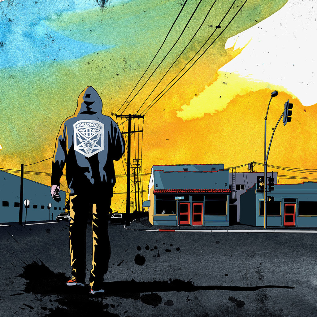Illustration by Joseph Kiely of a Californian crossing a typical West Los Angeles street