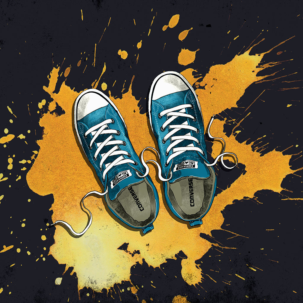Illustration of blue Converse shoes by Joseph Kiely