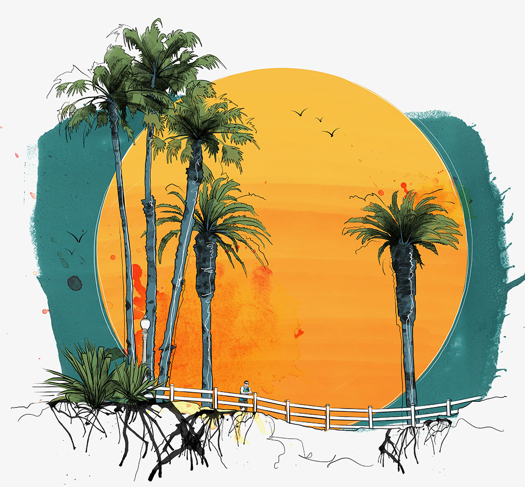 California bluffs with the sun and palm trees illustrated y Joseph Kiely