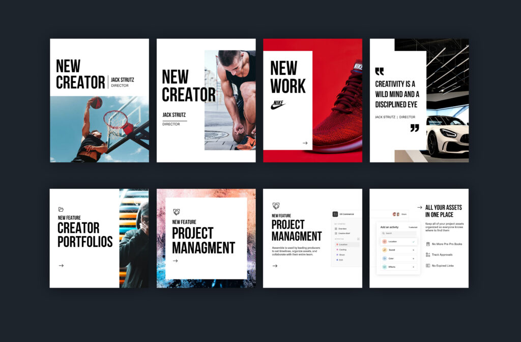 product instagram template design and sequential image postings