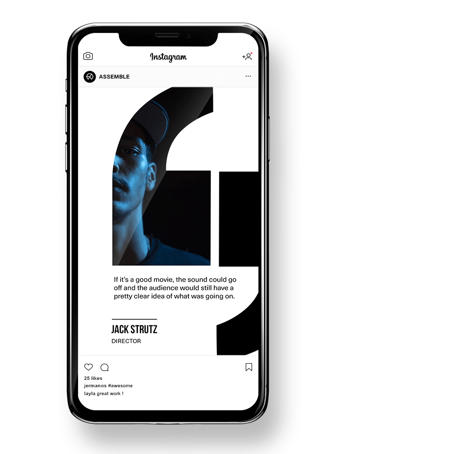 Instagram feed photographer design template in an iphone