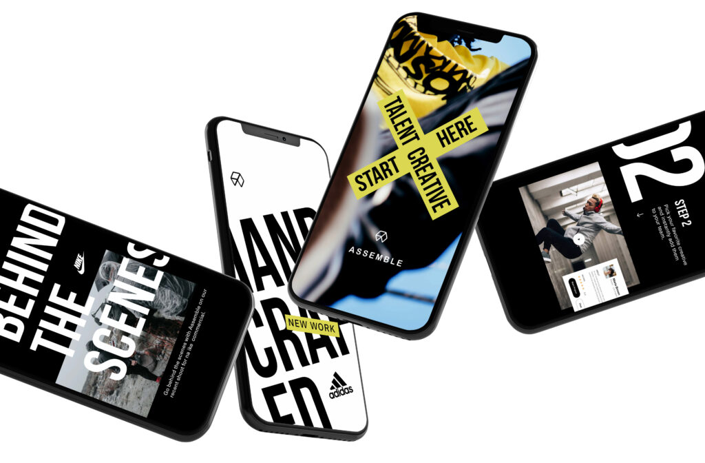 floating smart phones with creative social image designs
