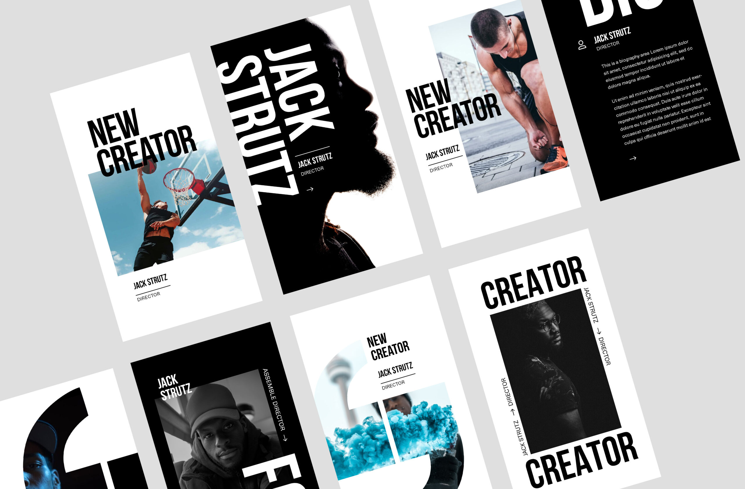 creator profile instagram template design with black and white photos and quotes