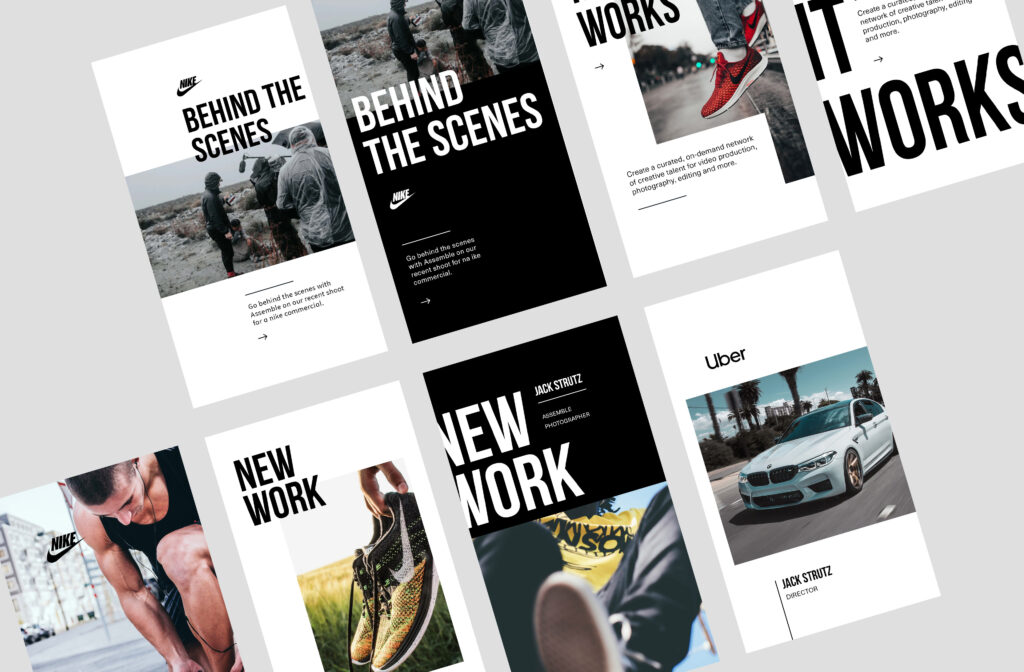 behind the scenes images and new work instagram template designs