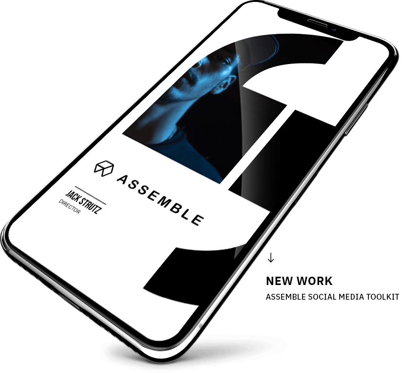 assemble talent management instagram story bio in a smart phone