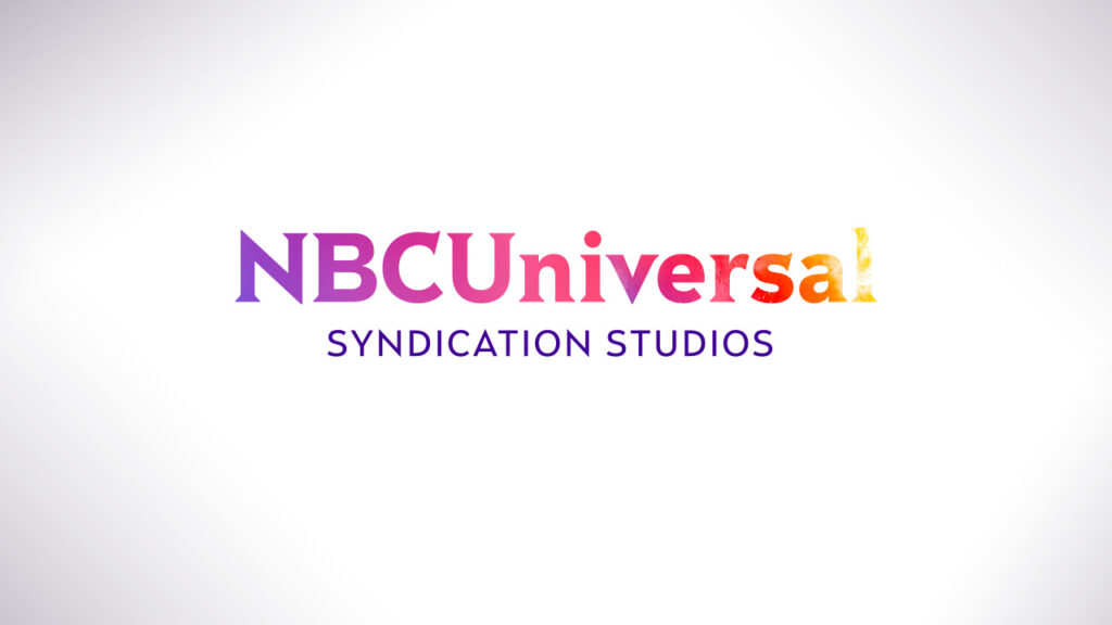 NBC Universal Syndication Studios logo animation design filled with a rainbow of color