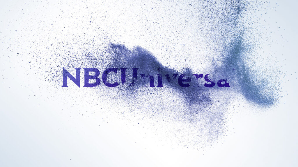 NBC Universal Syndication Studios logo animation design resolve with small particle waves