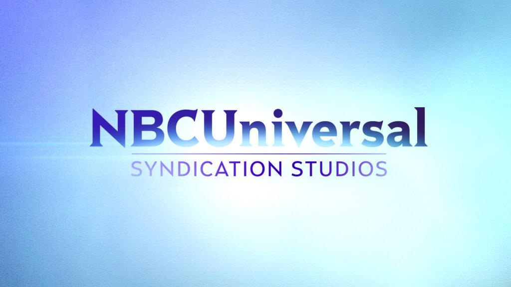 NBC Universal Syndication Studios logo animation design on a light blue