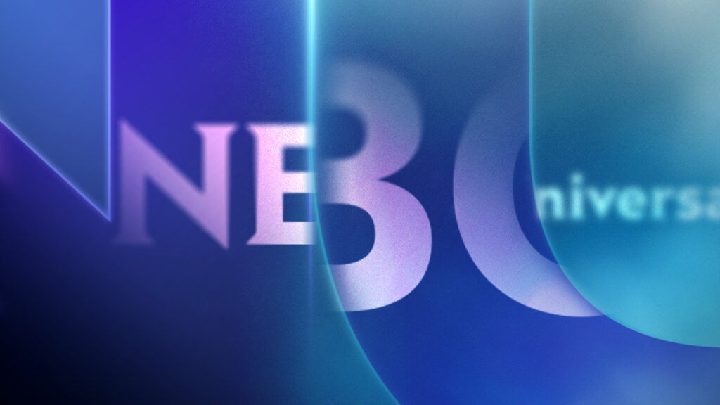 NBC Universal Syndication Studios logo animation design refracted in glass letter forms