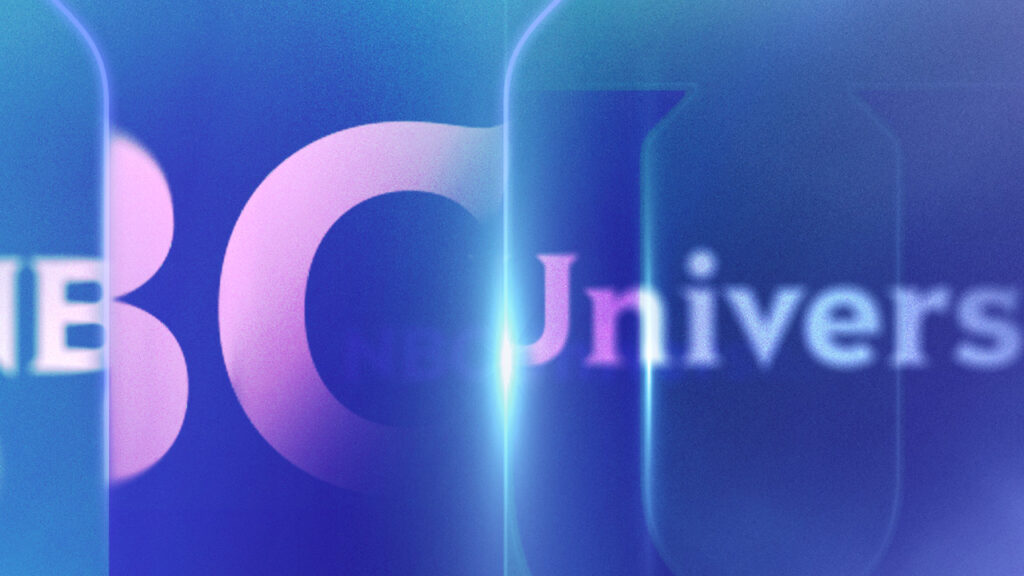 NBC Universal Syndication Studios logo animation design with large letter reflections