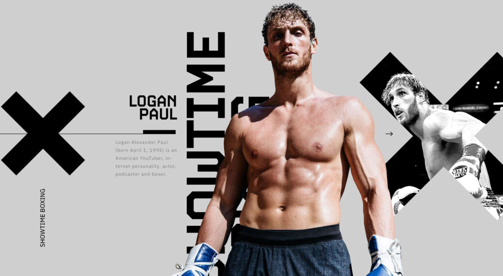 Showtime Boxing design concept for Floyd Mayweather vs Logan Paul on modern grey background
