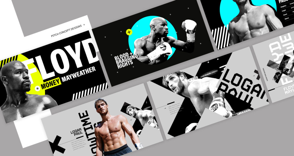 Showtime Boxing PPV pitch design for Mayweather vs Logan Paul
