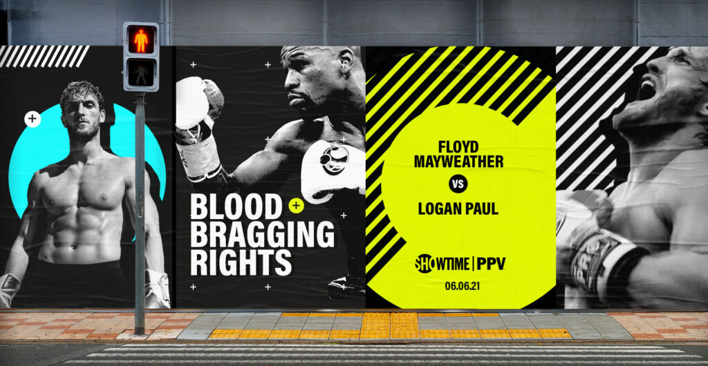 Showtime Boxing outdoor campaign design for Floyd Mayweather vs Logan Paul