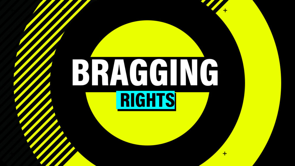 Showtime Boxing bragging right design on yellow with black hazard markings