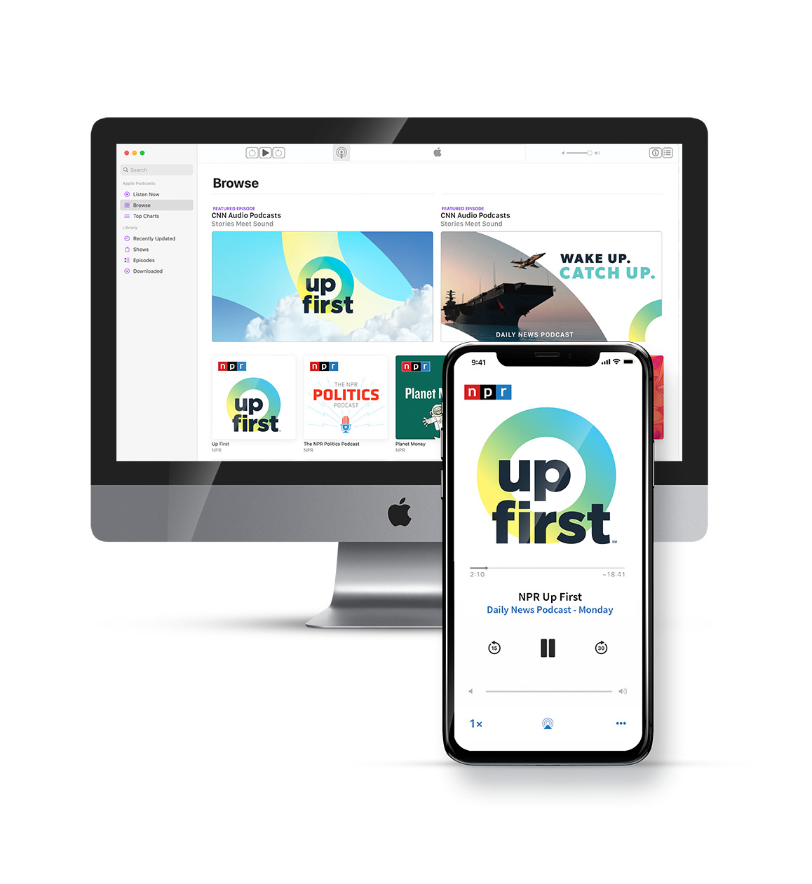 NPR Up First podcast cover design in a smart phone